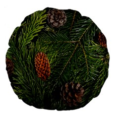 Branch Christmas Cone Evergreen Large 18  Premium Flano Round Cushions