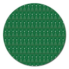 Christmas Tree Pattern Design Magnet 5  (round)