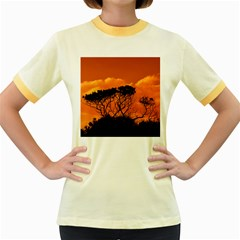 Trees Branches Sunset Sky Clouds Women s Fitted Ringer T Shirts