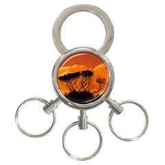 Trees Branches Sunset Sky Clouds 3 Ring Key Chains