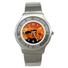 Trees Branches Sunset Sky Clouds Stainless Steel Watch