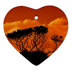 Trees Branches Sunset Sky Clouds Heart Ornament (two Sides)