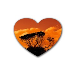 Trees Branches Sunset Sky Clouds Heart Coaster (4 Pack)