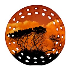 Trees Branches Sunset Sky Clouds Ornament (round Filigree)