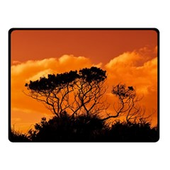 Trees Branches Sunset Sky Clouds Double Sided Fleece Blanket (small)