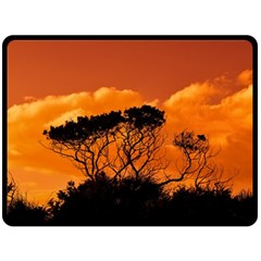Trees Branches Sunset Sky Clouds Double Sided Fleece Blanket (large)