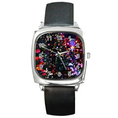 Abstract Background Celebration Square Metal Watch