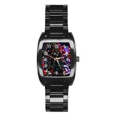 Abstract Background Celebration Stainless Steel Barrel Watch