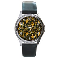 Christmas Background Round Metal Watch