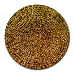 Background Gold Pattern Structure Round Mousepads
