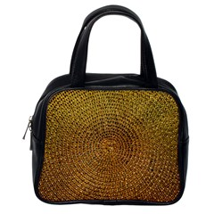 Background Gold Pattern Structure Classic Handbags (one Side)