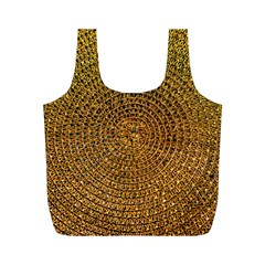 Background Gold Pattern Structure Full Print Recycle Bags (m)