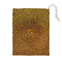 Background Gold Pattern Structure Drawstring Pouches (extra Large)