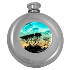 Trees Branches Branch Nature Round Hip Flask (5 Oz)