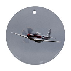 P 51 Mustang Flying Ornament (round)