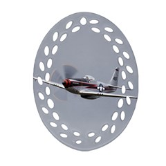 P 51 Mustang Flying Ornament (oval Filigree)