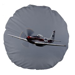 P 51 Mustang Flying Large 18  Premium Round Cushions