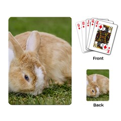 Beautiful Blue Eyed Bunny On Green Grass Playing Card