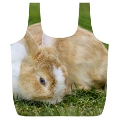 Beautiful Blue Eyed Bunny On Green Grass Full Print Recycle Bags (l)