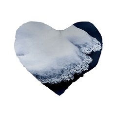 Ice, Snow And Moving Water Standard 16  Premium Flano Heart Shape Cushions