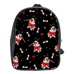 Pug Xmas Pattern School Bag (large)