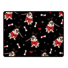 Pug Xmas Pattern Fleece Blanket (small)