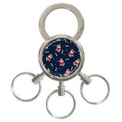 Pug Xmas Pattern 3 Ring Key Chains