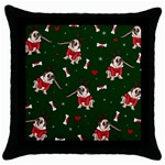 Pug Xmas Pattern Throw Pillow Case (Black) Front