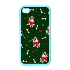 Pug Xmas Pattern Apple Iphone 4 Case (color)