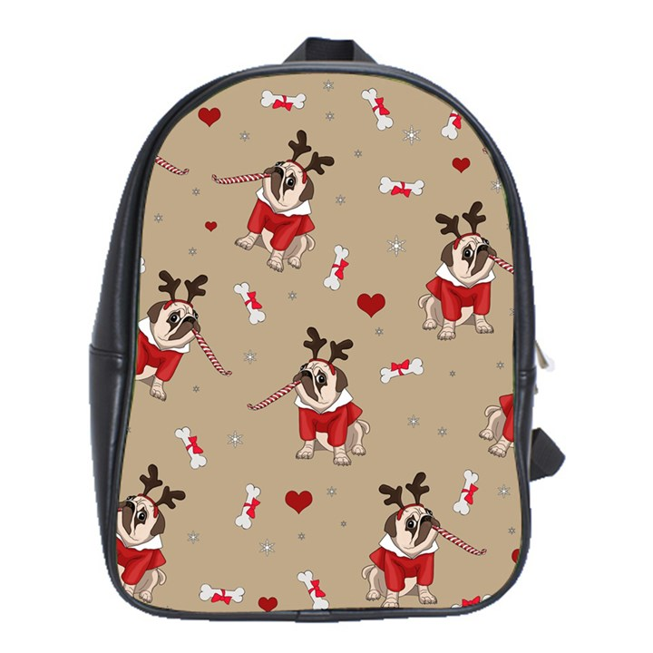 Pug Xmas Pattern School Bag (XL)