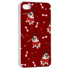 Pug Xmas Pattern Apple Iphone 4/4s Seamless Case (white)
