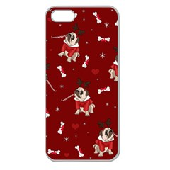 Pug Xmas Pattern Apple Seamless Iphone 5 Case (clear)