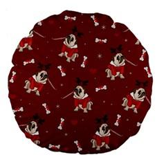 Pug Xmas Pattern Large 18  Premium Flano Round Cushions