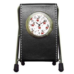 Pug Xmas Pattern Pen Holder Desk Clocks