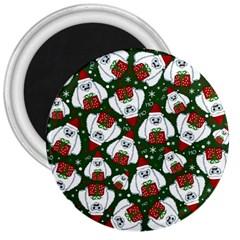 Yeti Xmas Pattern 3  Magnets