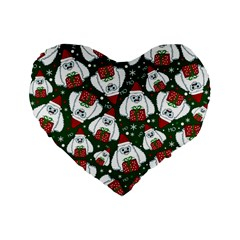 Yeti Xmas Pattern Standard 16  Premium Flano Heart Shape Cushions