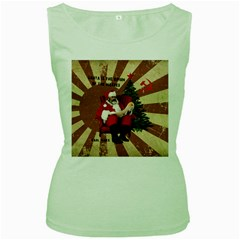 Karl Marx Santa  Women s Green Tank Top
