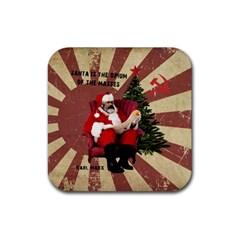 Karl Marx Santa  Rubber Coaster (square)
