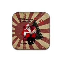 Karl Marx Santa  Rubber Square Coaster (4 Pack)
