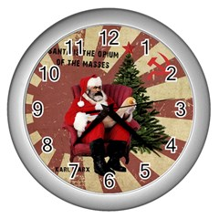 Karl Marx Santa  Wall Clocks (silver)