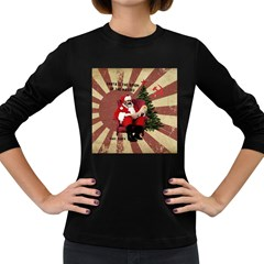 Karl Marx Santa  Women s Long Sleeve Dark T Shirts