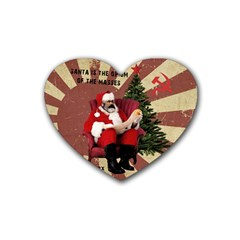 Karl Marx Santa  Rubber Coaster (heart)