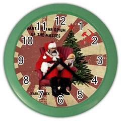 Karl Marx Santa  Color Wall Clocks