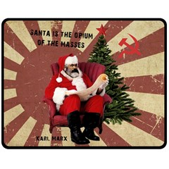 Karl Marx Santa  Fleece Blanket (medium)