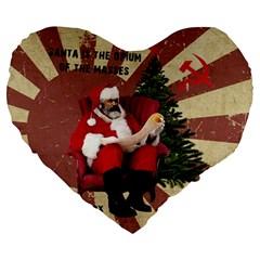 Karl Marx Santa  Large 19  Premium Heart Shape Cushions