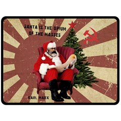 Karl Marx Santa  Double Sided Fleece Blanket (large)