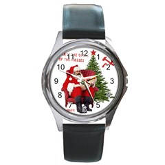 Karl Marx Santa  Round Metal Watch