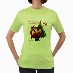 Karl Marx Santa  Women s Green T Shirt