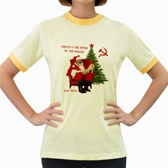 Karl Marx Santa  Women s Fitted Ringer T Shirts