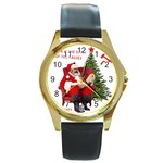 Karl Marx Santa  Round Gold Metal Watch Front